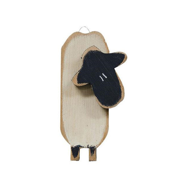 "10"" Skinny Sheep Wood Hanging Country Wall Plaque"