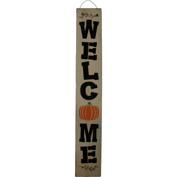 Pumpkin WELCOME Sign with Wire Hanger