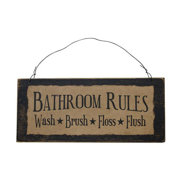 Bathroom Rules Olde Parchment Sign Country Rustic