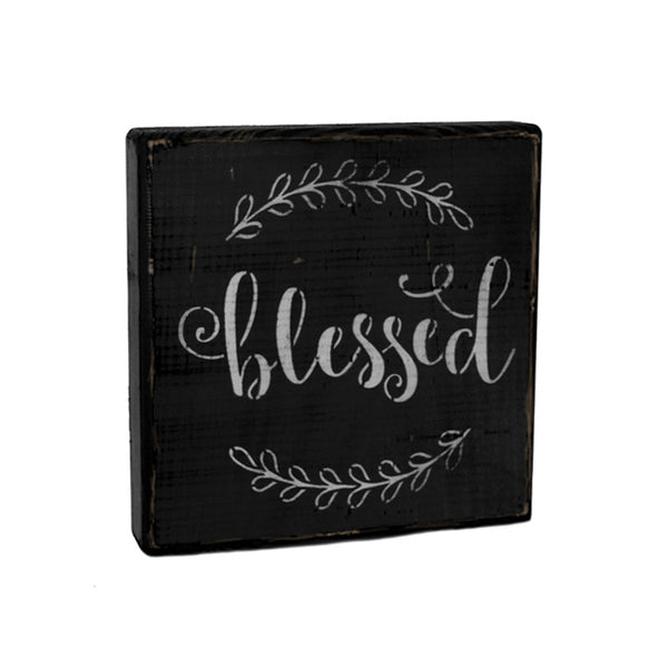 Blessed Ivy Wood Shelf Sitter Sign Block