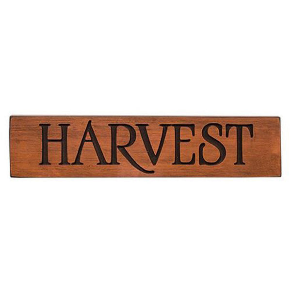 "24"" Distressed Orange Engraved ""Harvest"" Wood Sign"