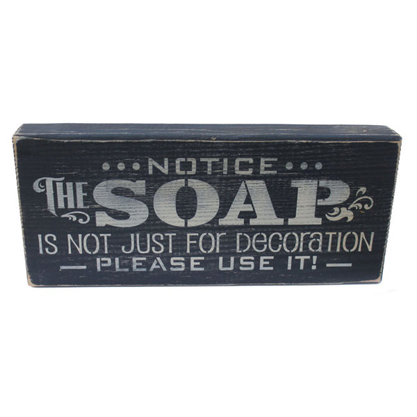 SOAP Please Use It! Rustic Distressed Wood Shelf Sitter