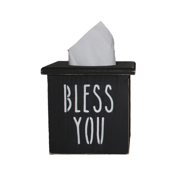 """Bless You"" Wood Tissue Box Cover"