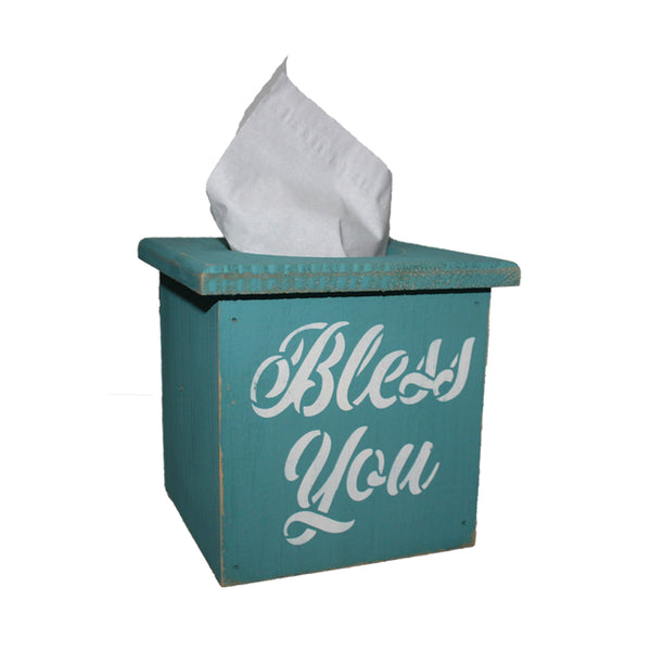 "Cursive ""Bless You"" Wood Tissue Box Cover"