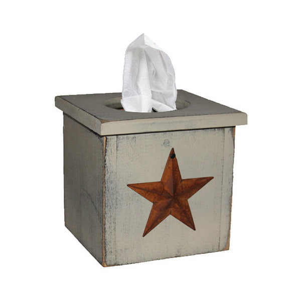 PS Wood Tissue Box Cover with Rusty Star