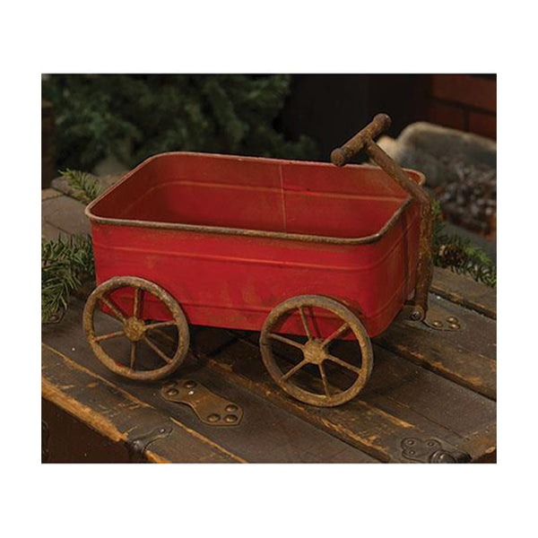 Rustic Antique-Style Metal Red Wagon