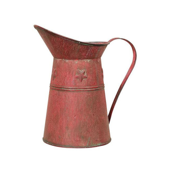 Decorative Distressed Red Metal with Stars Pitcher