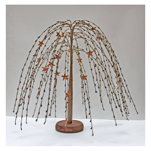 18-inch Burgundy Weeping Willow Tree with Rusty Metal Stars