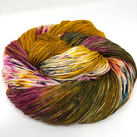 Knitted Wit yarn in warm bright tones of the Goddess colorway