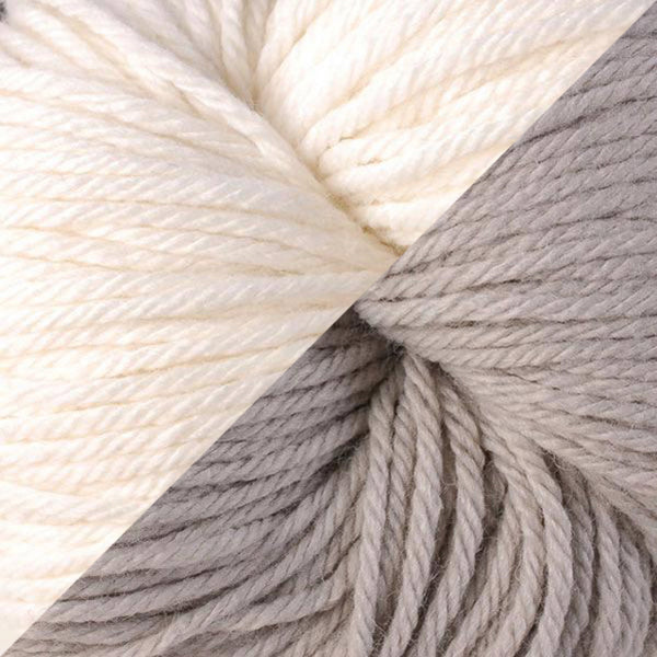vintage worsted in snow day and dove