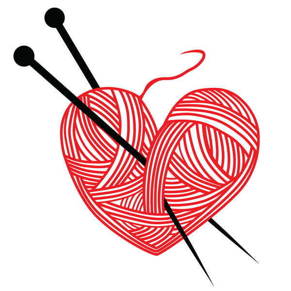line drawing of a heart made of yarn with knitting needles