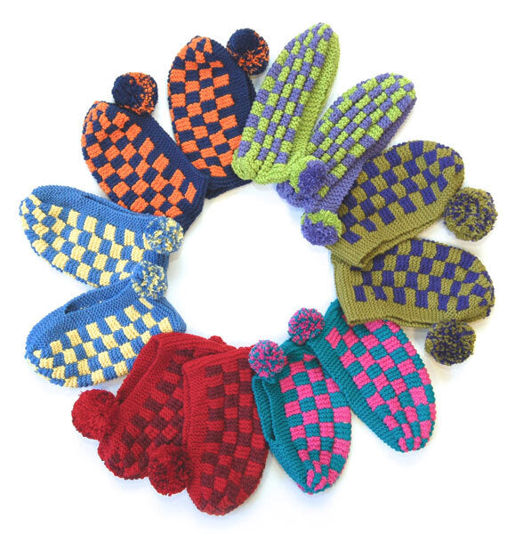 cushy checked slippers pattern
