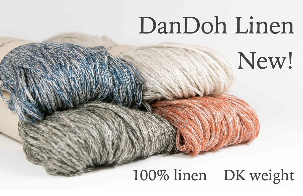 redish, greenish, blueish, and natural skeins of heathered linen yarn with text overlay: DanDoh Linen New! 100% linen, DK weight