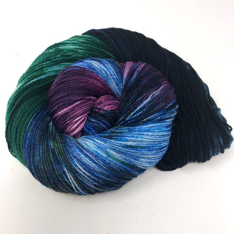 blue purple and green yarn