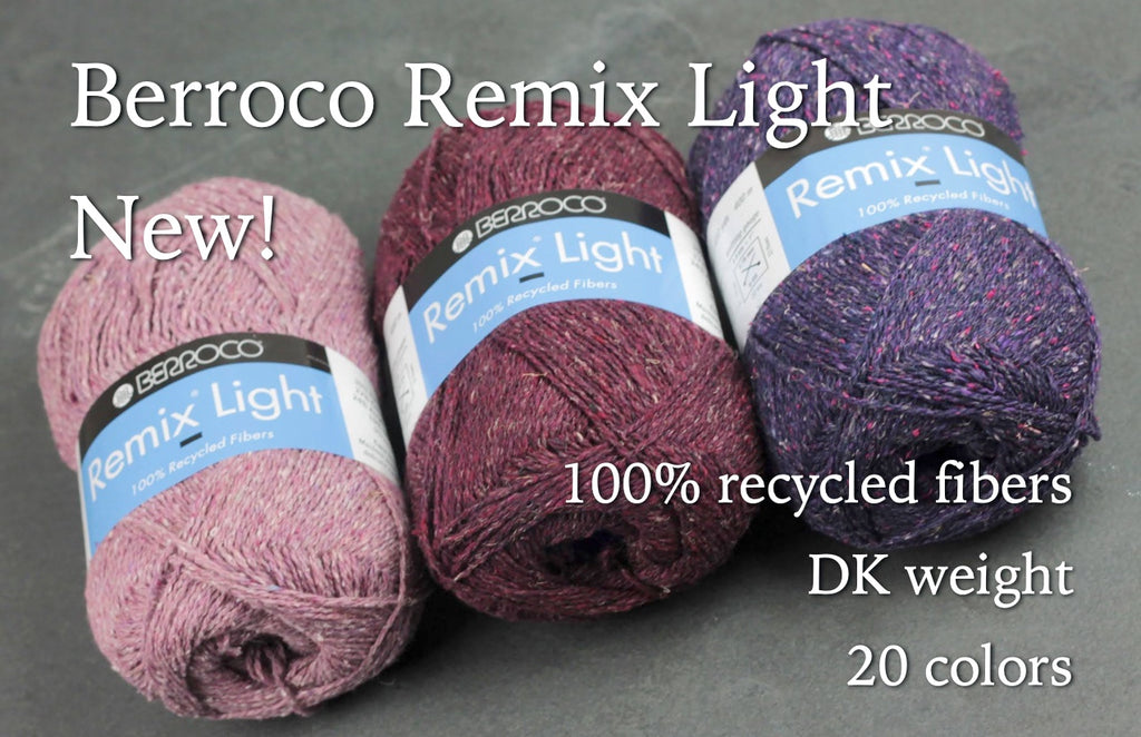 pink, plum, and purple pull skeins of heathered, tweedy yarn on a piece of dark gray slate tile. Text overlay: Berroco Remix Light New! 100% recycled fibers, DK weight, 20 colors