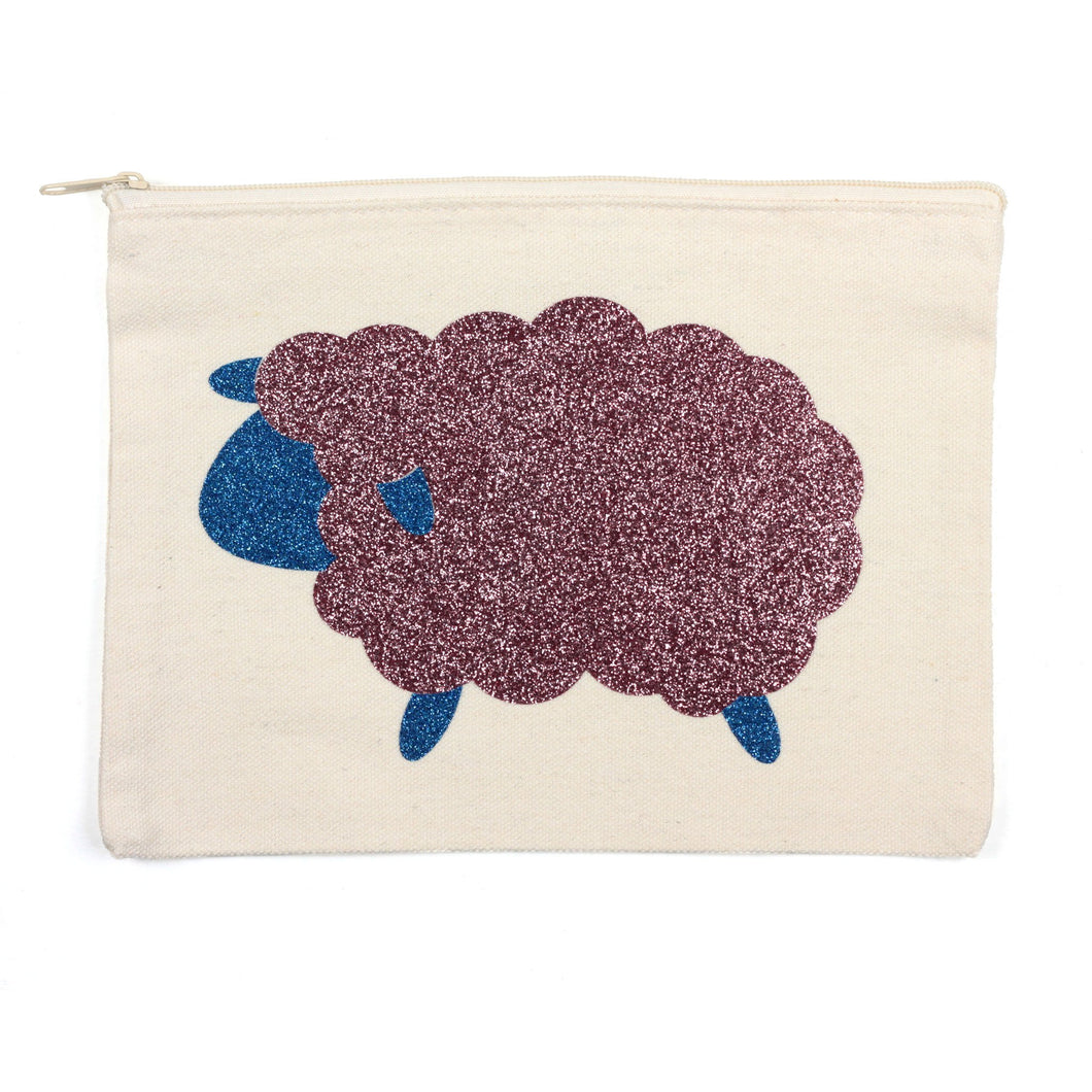 Sheep | Glitter Zipper Pouch by Black Purl Magic | Twisted
