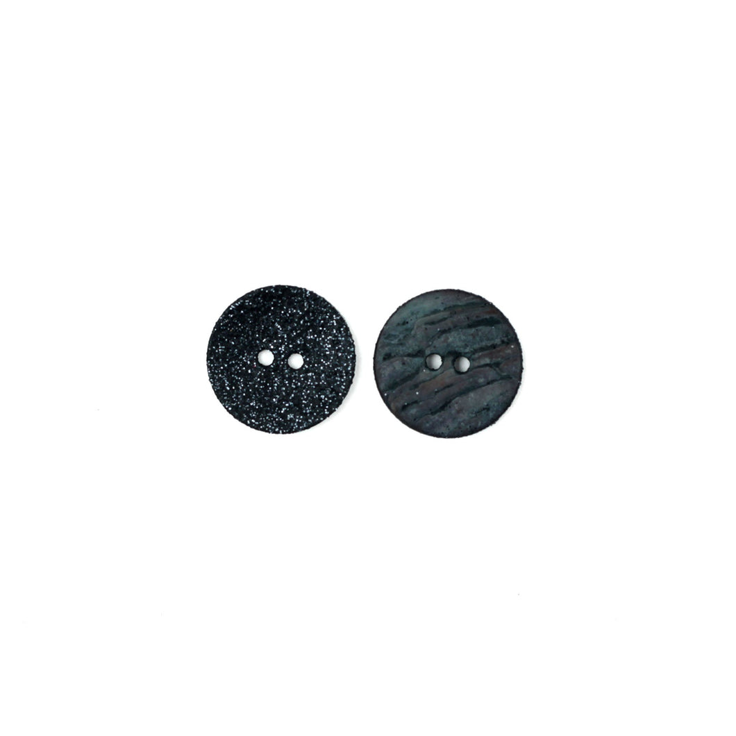 Black | Agoya Shell Glittery Round Buttons, 18 mm / .7 inch from Skacel | Twisted