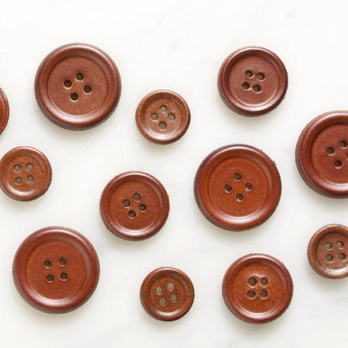 | Brown Leather Raised Rim Buttons from Skacel | Twisted