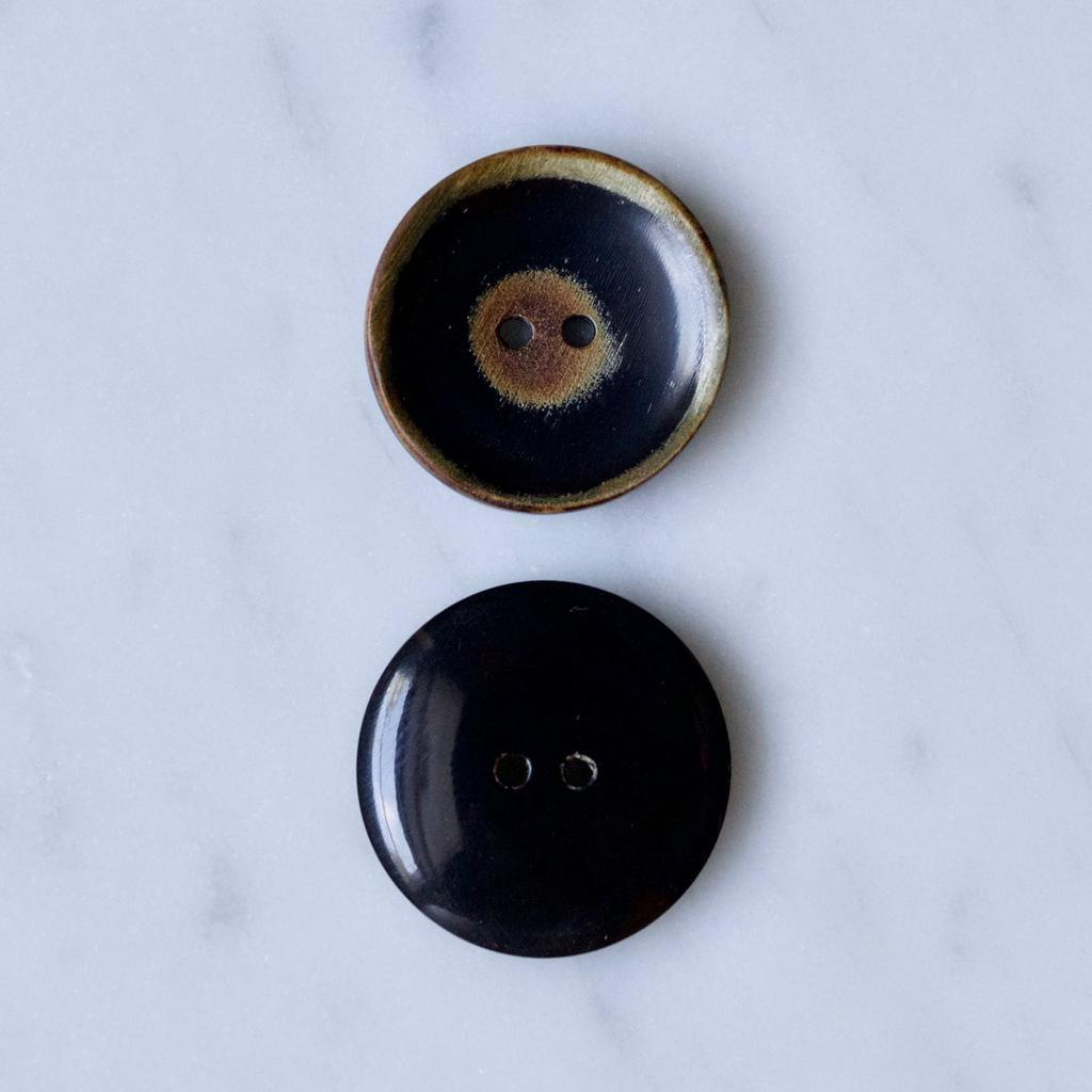 Default | Concave Black and Brown Horn Buttons from Skacel | Twisted