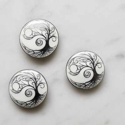 White | Gun Metal Tree Buttons from Skacel | Twisted