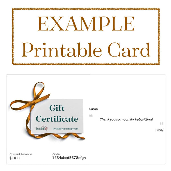 example printable gift card