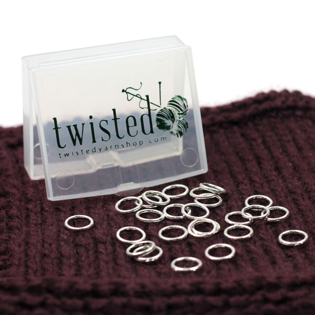 Default | Silver Ring Stitch Markers in Twisted Logo Box from Twisted | Twisted