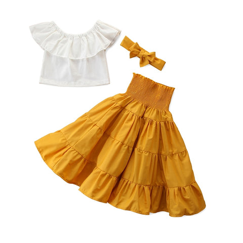 2-7 Year Summer Kid Baby Girls 3Pcs Clothes Sets Off Shoulder White Crop Tops + Yellow High Waisted Dress Headband Outfits
