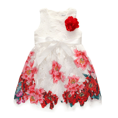 Spring Summer Princess Dress Europe dress lace high quality peony flowers fashion belt kids clothes