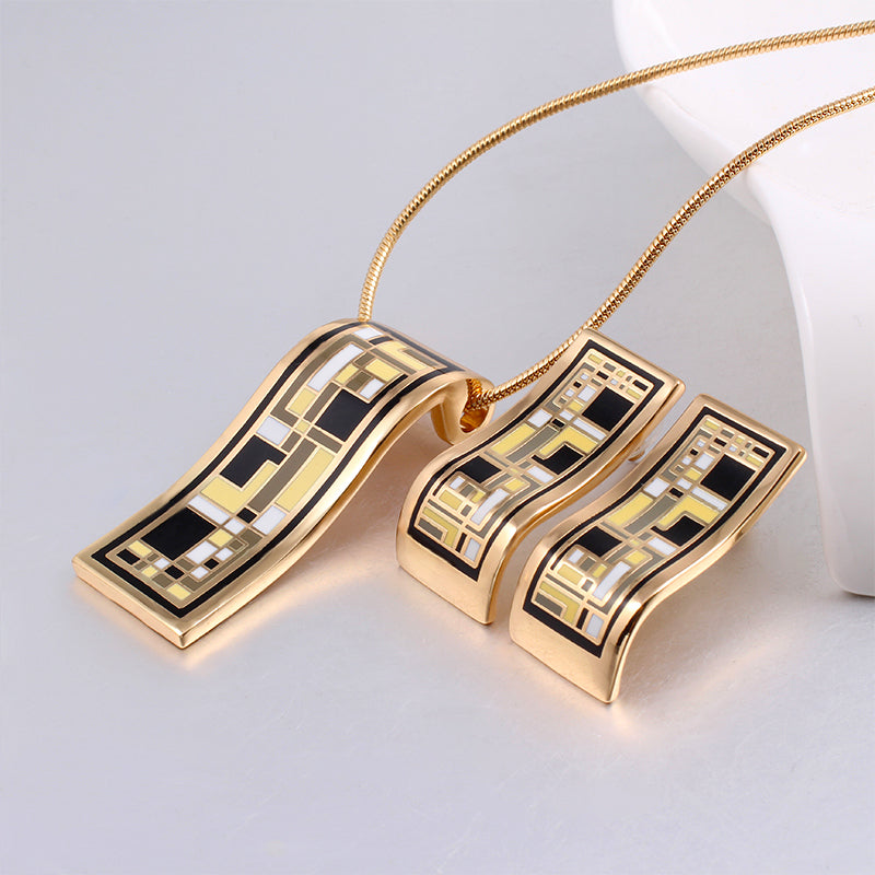 New Arrival Gold Jewelry Sets Geometry Vintage for Women Elegant ...