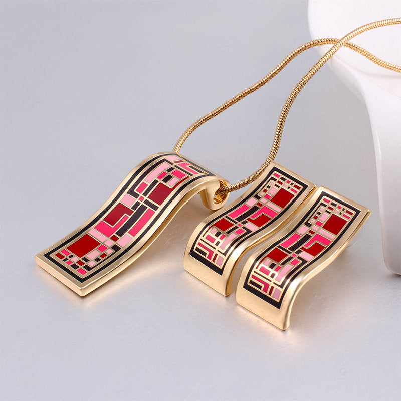 New Arrival Gold Jewelry Sets Geometry Vintage for Women Elegant Classic  Enamel Jewelry (Necklace,