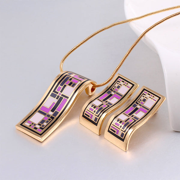 New Arrival  Gold Jewelry Sets Geometry Vintage for Women Elegant Classic Enamel Jewelry (Necklace, Earring)