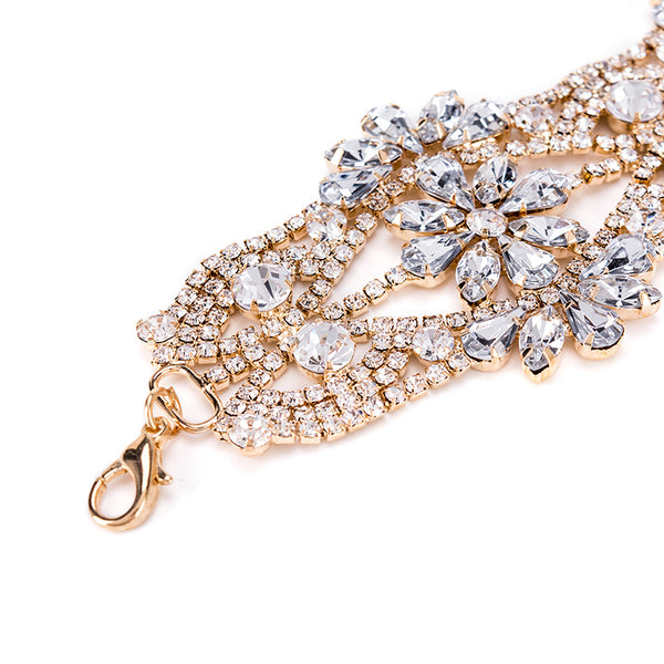 New Collar Choker Necklace Luxury Crystal Collier Neck Statement Flower Rhinestone For  Wedding Women