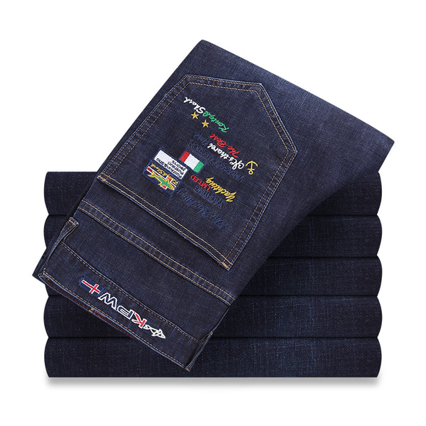 FashionTop quality Mens Jeans  Jeans Shark pants Brand Men Straight Dark blue jeans