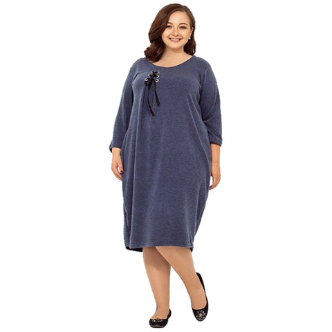 Autumn Winter loose casual dress knee length plus size women clothing solid dresses large sizes blue navy Vestidos