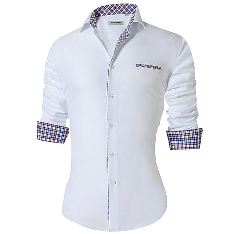 Men Casual Shirt Long Sleeve Slim Fit Cotton Dress  1