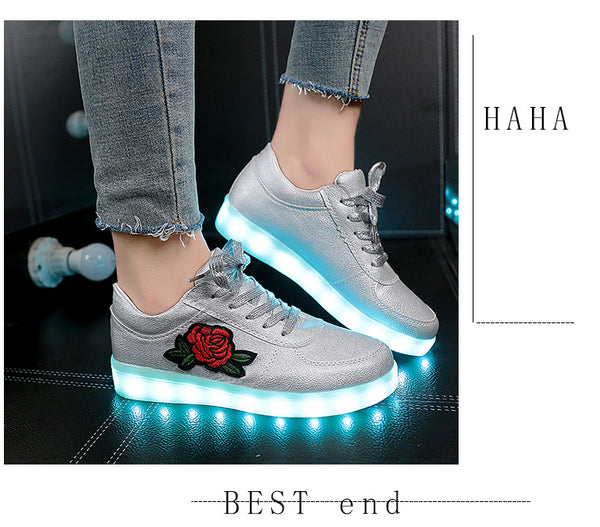 26-44 Kids Sneakers for Girls Boys Women Shoes with Light Led Shoes with Flower