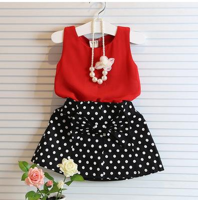 New Summer Fashion Kids Girls Clothes Sleeveless Chiffon Tops Vest Polka Dot Bowknot Skirt Outfits Children  Clothing Sets