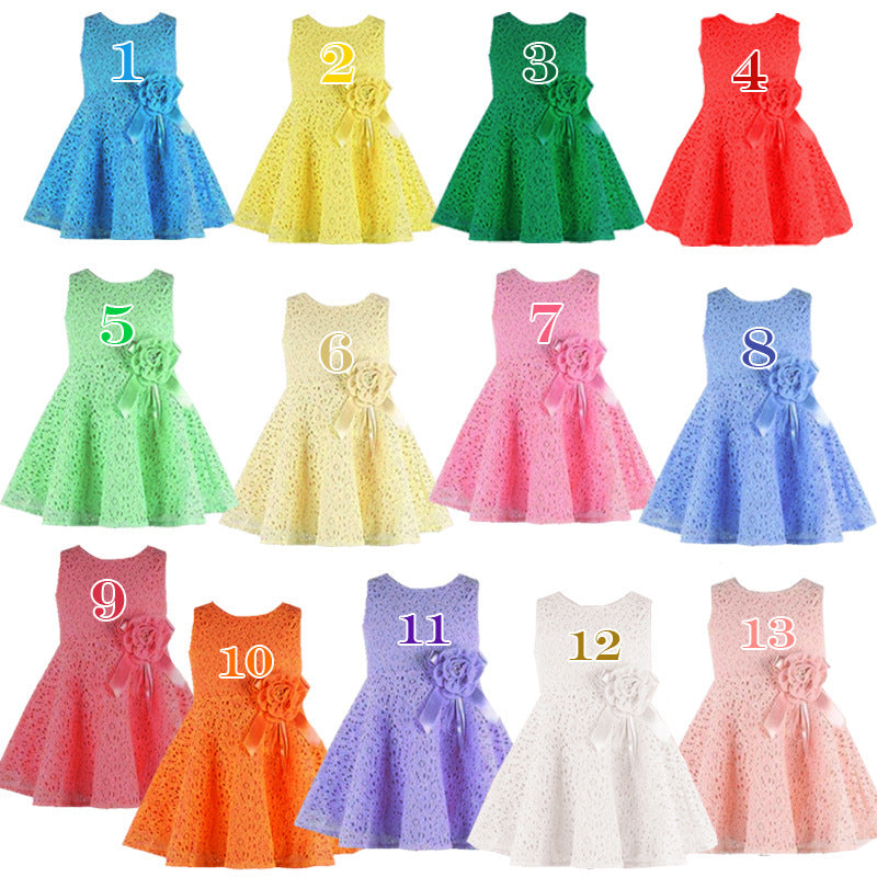 78f5eda8e9359 2018 Summer Baby Dress Lace Flower Sleeveless Newborn Baby Girl Dress 0-2  Years Infant Girl Princess Dress