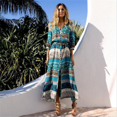 2018 new Bohemian printing long dress women maxi long dress floral print retro hippie vestidos chic brand clothing boho dress