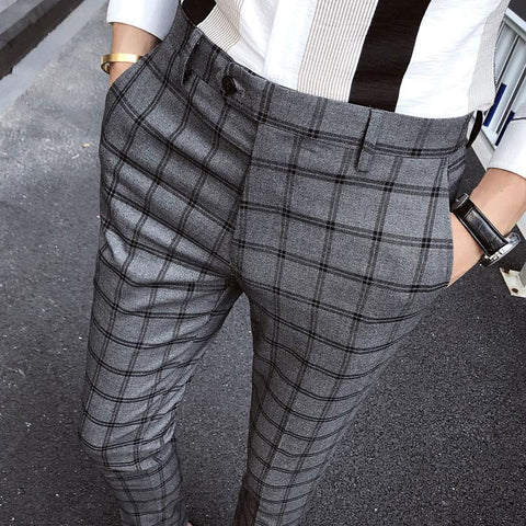 2019 New Men's Fashion Classic Plaid Casual Slim Pants