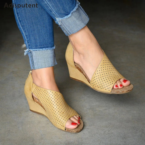 Women Summer Fashion Casual Rome Peep Heel Sandals