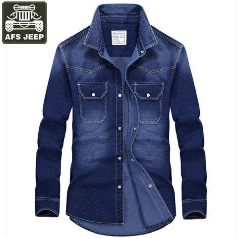Denim Men Long Sleeve Turn-down Collar Cotton Shirt
