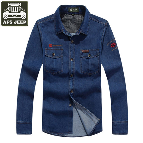 Men Spring Jeans Long Sleeve Masculina Military Shirts Chemise Homme