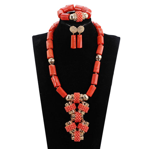 African Coral Jewelry Sets Quality Real Coral Beads Pendant Necklace Set for  Wedding