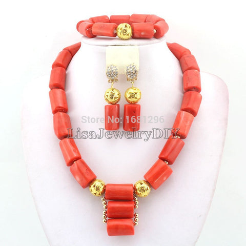 African Costume Jewelry Coral Beads Jewelry Sets Necklace Bracelet Clip Earrings