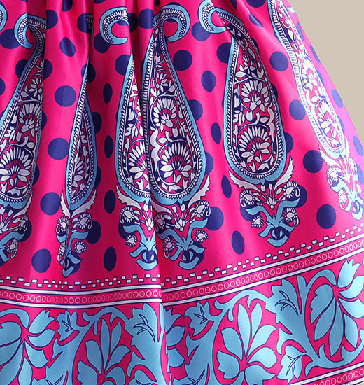 Amazing summer dress Blue Dot Floral Print girl party dress Silk Belt children clothing for 5-10Y