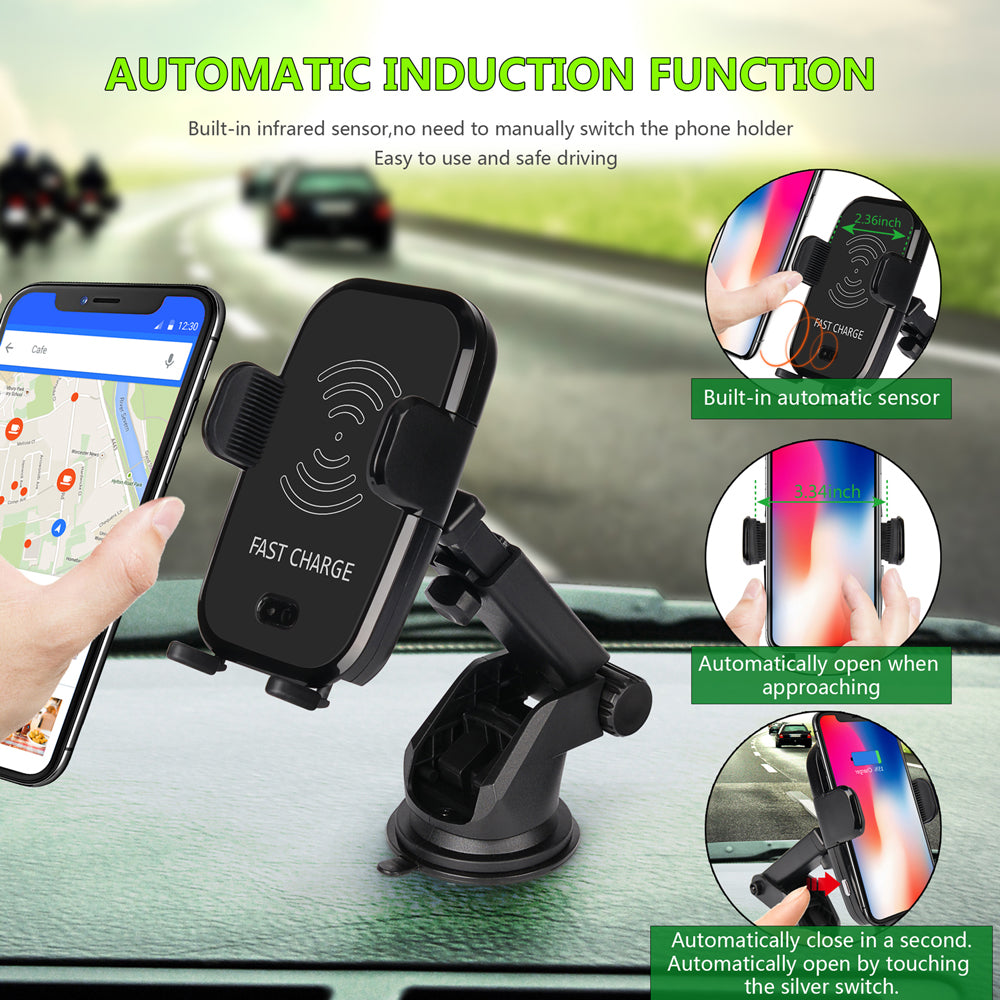Infrared Sensor Automatic Qi Fast Wireless Car Mobile Phone Charger for iPhone X 8 Plus Samsung S9 S8 Plus S7 Note 8