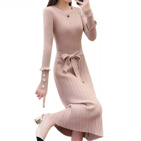 Autumn Winter Women Long Sweater Bow Sashes Beading Knitted Ladies Long Sleeve Pleated Dress