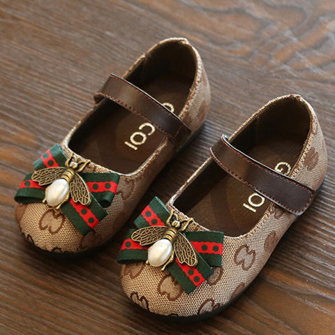 Patch Bow Tie Girls Casual Sandals with Pearl Chain Letters