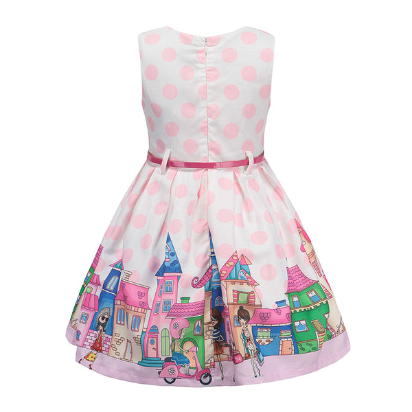Summer Girls Dress Cartoon Print Princess Dress 2018 New Sleeveless Children Clothes Fashion Belt for Party and Wedding